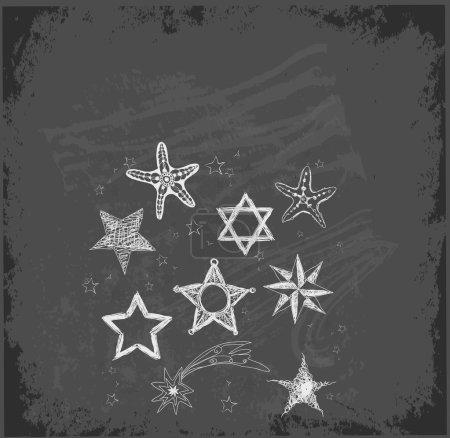 Sketch stars collection on chalkboard blackboard .