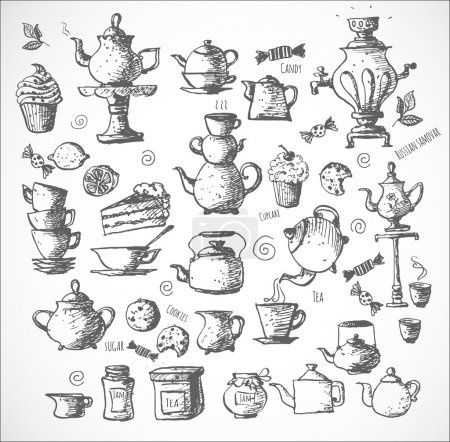 Illustration for Sketches of tea objects. Hand drawn with ink in vintage style. Vector illustration. - Royalty Free Image
