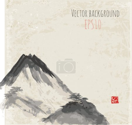 Illustration for Mountains, hand-drawn with ink in traditional Japanese style sumi-e. Vector illustration. - Royalty Free Image