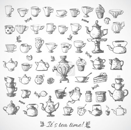Illustration for Sketches of vintage cups and tea pots. Vector illustration. - Royalty Free Image