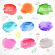 Set of nine colored watercolor backgrounds. Vector illustration.