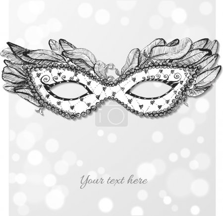 Vintage card with festive venetian mask.