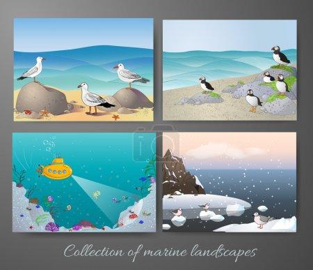 Illustration for Marine landscapes collection. Vector illustration. - Royalty Free Image