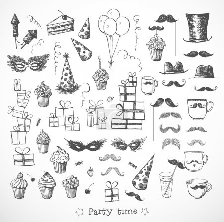 Set of sketch party objects hand-drawn with ink.