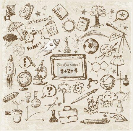 Back to school big doodles set in vintage style.