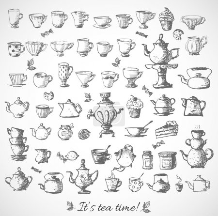Sketches of tea objects. Hand drawn with ink