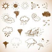 Weather icons set Hand drawn sketch illustration