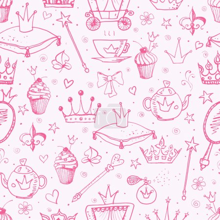 Pink seamless background with princess' accessories.