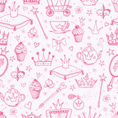 Pink seamless background with princess' accessories Can be used for wallpaper pattern fills textile web page background surface textures