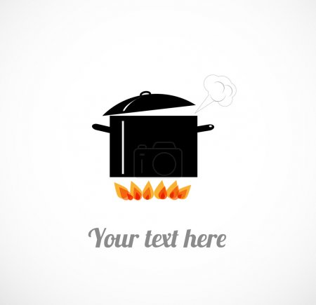 Illustration for Card with boiling pot on fire. Vector illustration. - Royalty Free Image
