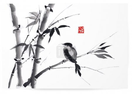 Illustration for Card with bamboo and bird on white background in sumi-e style. Hand-drawn with ink. Vector illustration. Traditional Japanese painting - Royalty Free Image