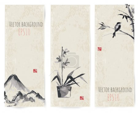 Illustration for Banners with bamboo, mountains and bird in sumi-e style. Vector illustration. Traditional Japanese painting. Hand-drawn with ink. - Royalty Free Image