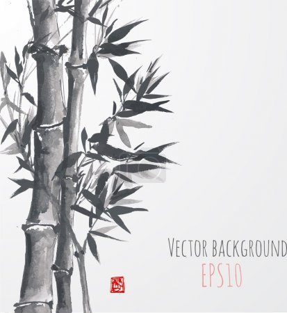 Illustration for Card with bamboo on white background in sumi-e style. Hand-drawn with ink. Vector illustration. - Royalty Free Image