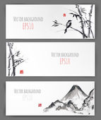 Banners with bamboo mountains and bird