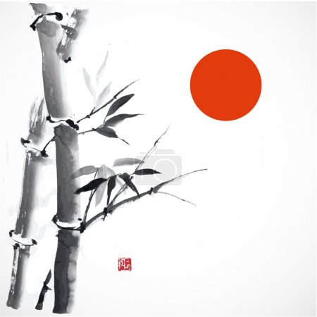 Illustration for Card with bamboo and red sun on white background - Royalty Free Image