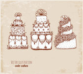 Sketches of cakes in vintage style