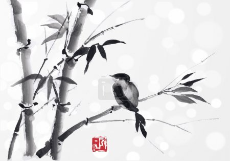 Illustration for Card with bamboo and bird on white background. Hand-drawn with ink. Vector illustration. Traditional Japanese painting sumi-e. - Royalty Free Image