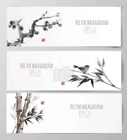 Illustration for Banners with sakura, bamboo and bird in sumi-e style. Vector illustration. Traditional Japanese painting. Hand-drawn with ink. Sealed with decorative red stamp. - Royalty Free Image