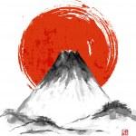 Fujiyama mountain and big red sun on white backgro...