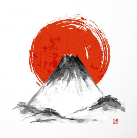 Illustration for Fujiyama mountain and big red sun on white background. Traditional Japanese style sumi-e. Vector illustration. - Royalty Free Image