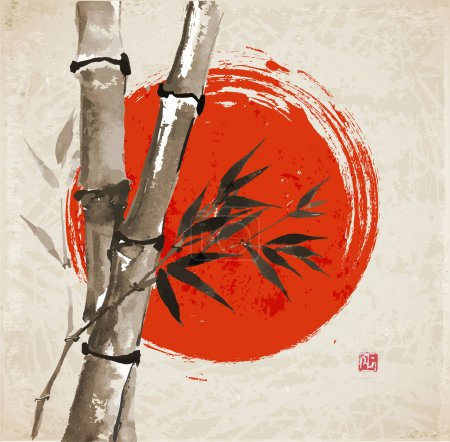 Illustration for Card with bamboo and big red sun in sumi-e style. Hand-drawn with ink. Vector illustration. Traditional Japanese painting. bamboo-japan - Royalty Free Image