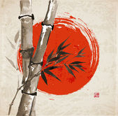 Card with bamboo and big red sun in sumi-e style Hand-drawn with ink Vector illustration Traditional Japanese painting bamboo-japan