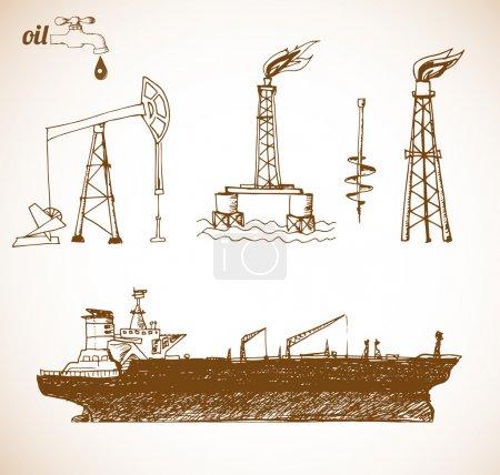 Oil tanker ship in vintage style