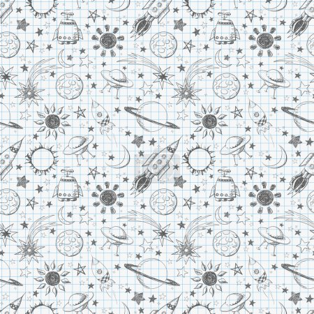 Illustration for Seamless space pattern. Can be used for wallpaper, pattern fills, textile, web page background, surface textures. - Royalty Free Image