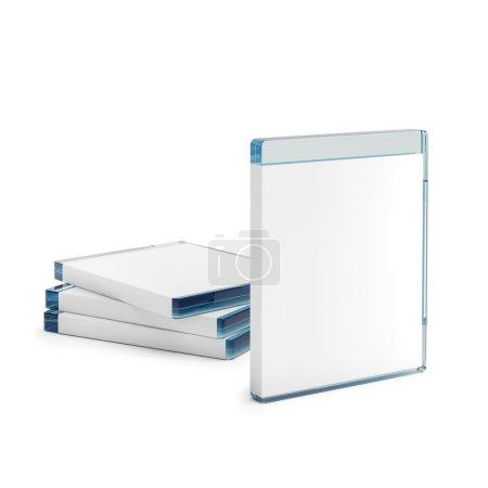 Foto de 3D generado blu ray disc las cajas aisladas sobre fondo blanco - Imagen libre de derechos