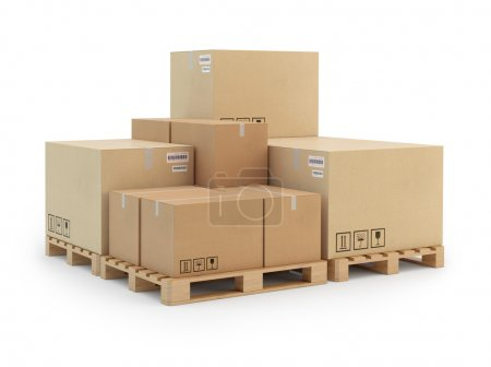 Cardboard boxes on a pallet. Isolated on white background.