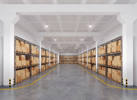 Photo for 3d rendered warehouse with many racks, boxes and euro pallets - Royalty Free Image