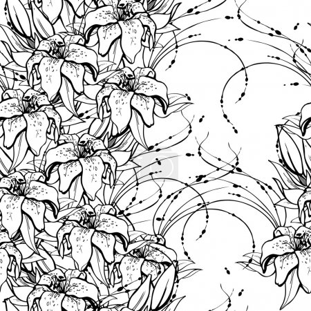 Seamless black and white pattern with lilies