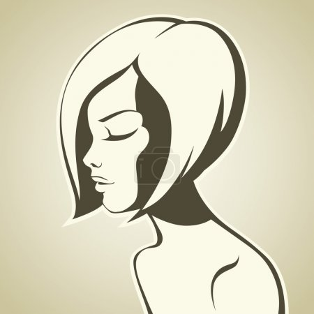 Illustration for Graphic girl with bob haircut - Royalty Free Image