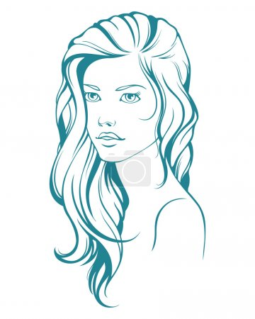 Illustration for Graphic girl with long hair - Royalty Free Image