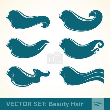 Illustration pour Ensemble vectoriel de profils de filles aux cheveux longs - image libre de droit