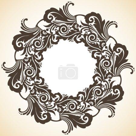 Illustration for Ornamental decorative Christmas wreath - Royalty Free Image