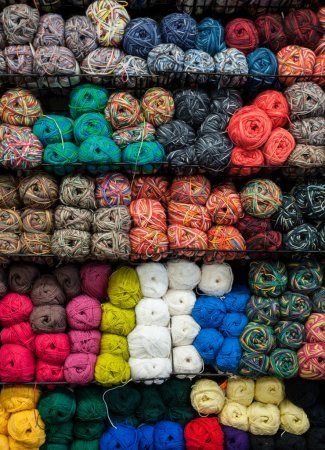 Photo for Knitting balls of yarn colors in a craft store - Royalty Free Image