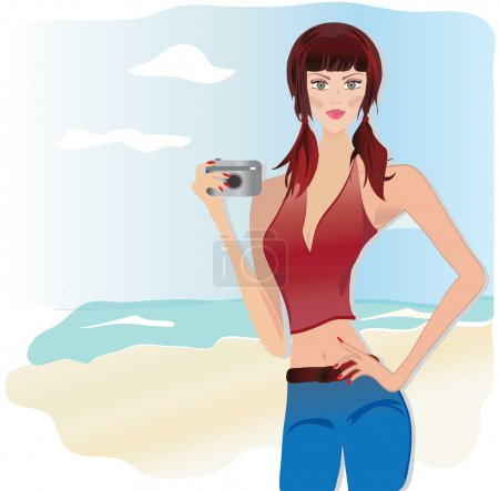 Beautiful Girl Holding Photo Camera at the Beach