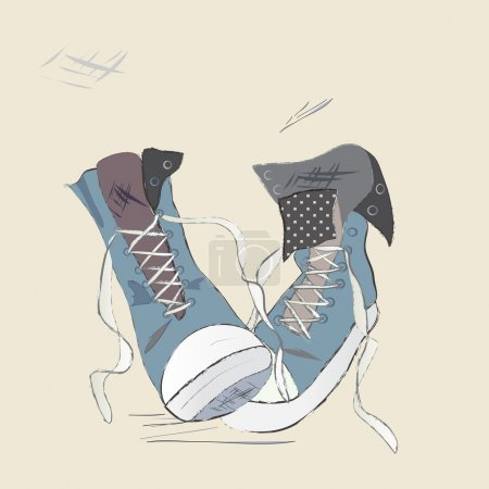 Canvas Shoes Illustration. Drawn Design of a Sneak...