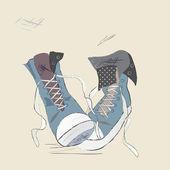Illustrazione di scarpe di tela. progettazione trafilati di una sneakers