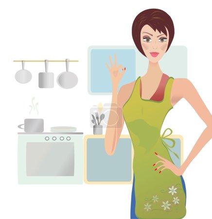 Illustration pour Femme montrant OK signe. Femme au foyer Cuisine dans sa cuisine - image libre de droit