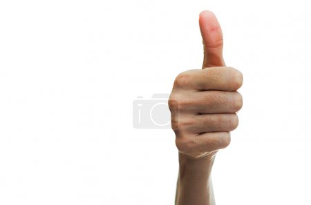 Photo for Woman hand showing thumb up sign isolated on white background - Royalty Free Image