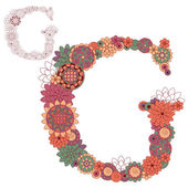 Vector illustration on the letter G from abstract decorative flowers