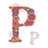 Vector illustration on the letter P from abstract decorative flo