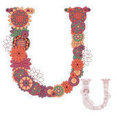 Vector illustration on the letter U from abstract decorative flo