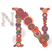 Vector illustration on the letter N from abstract decorative flo