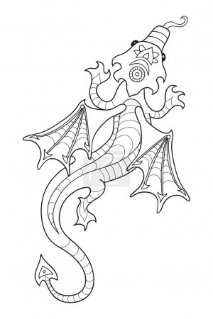 Drawing a dragon in cartoon style.