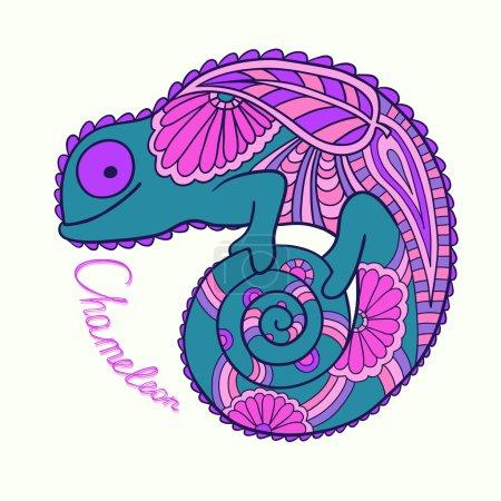 Photo pour Caméléon mignon dans un style ethnique. Illustration vectorielle . - image libre de droit