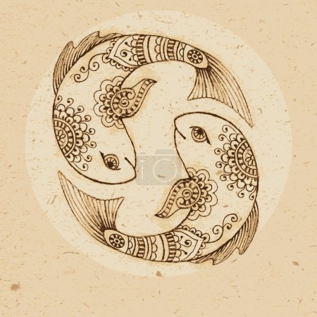 Illustration for Hand drawn fish ornament with elements in the ethnic style. Zodiac sign - Pisces. Vector illustration. - Royalty Free Image