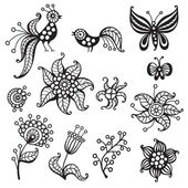 Set of elements for design: birds butterflies flowers Vector illustration